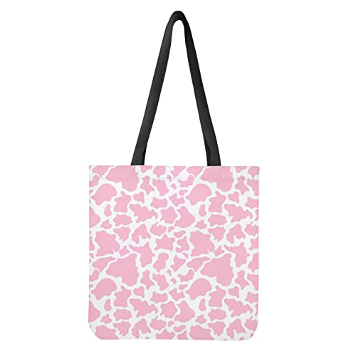 Belidome Einkaufstasche aus Segeltuch, doppelseitig, bedruckt, Handtasche für Shopping, Schule, Rosa...
