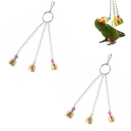 Yakobst 2 Stück Vogel Papagei Glocke, Vogel Papagei Kauspielzeug, Papagei hängen Buntes...