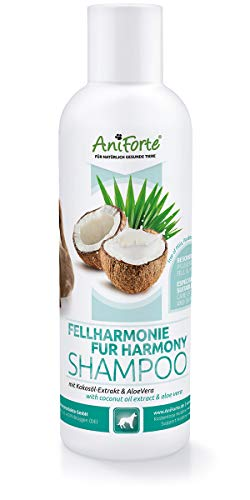 AniForte Fellharmonie Shampoo mit Kokosöl-Extrakt & Aloe Vera 200ml Hundeshampoo Kokos-Shampoo –...