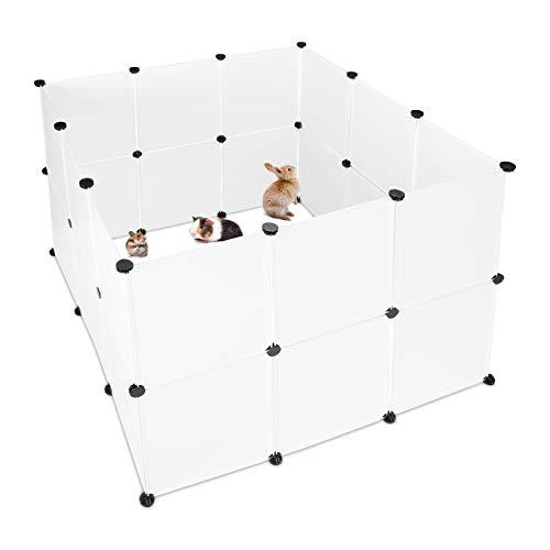 Relaxdays Freilaufgehege Kunststoff, DIY Freigehege, Erweiterbarer Auslauf für Kleintiere, HBT 92 x 110...