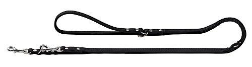HUNTER Elk Petit Verstellbare Führleine für kleine Hunde, Leder, weich, 0,8/200 cm, schwarz