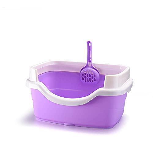 XKMY Katzentoilette mit Schaufel, Spritzschutz, Kunststoff, für den Innenbereich (Farbe: Violett,...