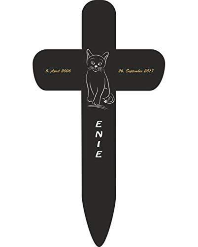 Livingstyle & Wanddesign Personalisiertes Grabkreuz fürs Haustier, Katze Silhouette 2 in Schwarz, klein...