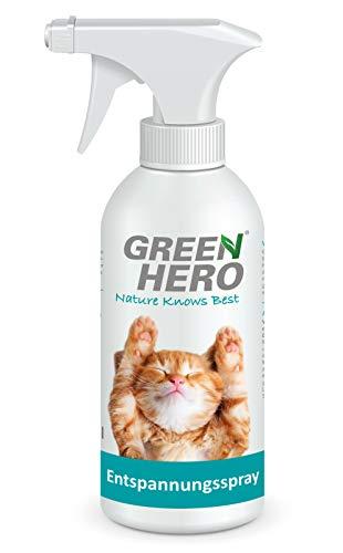 Green Hero Entspannungsspray für Katzen enthält beruhigende Duftstoffe wie Baldrian, Lavendel und...