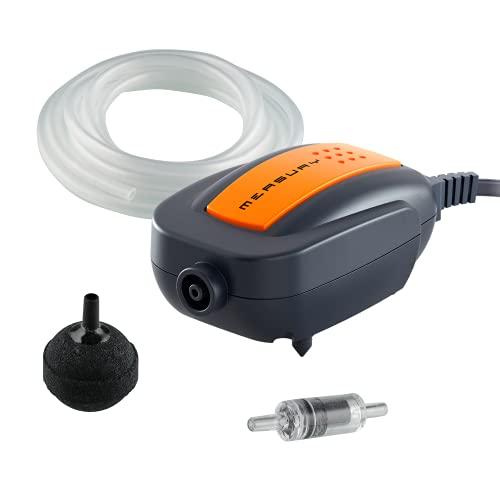 Measury Aquarium Luftpumpe AIR60 - Sehr Leise Membranpumpe Aquarium - Sauerstoffpumpe mit Schlauch,...