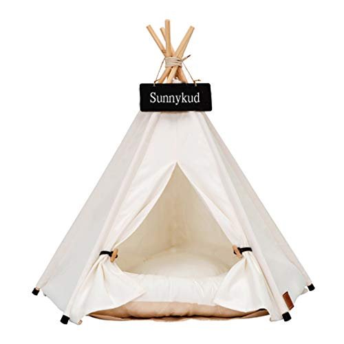 Sunnykud Tipi Zelt für Haustiere Hundezelt Katzenzelt Haustierzelte Häuser mit Kissen Abnehmbar und...