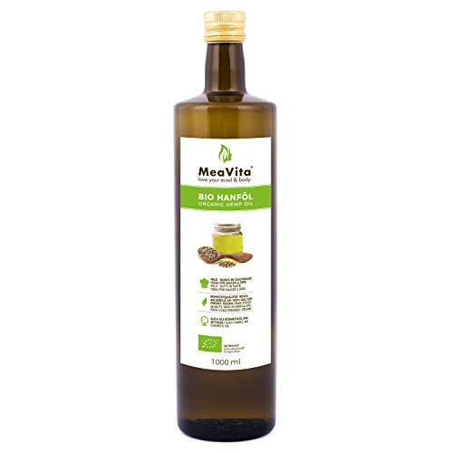 MeaVita Bio Hanföl, 100% rein & kaltgepresst, (2x 500ml) Hanfsamenöl hoher Anteil an Omega 3 & 6...