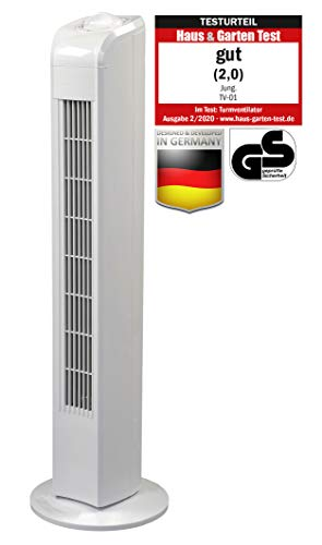 Jung TV01 Ventilator 78cm weiss, TESTURTEIL 2020 Note 2,0 (Gut), Leise Turmventilator 57dbA max,...