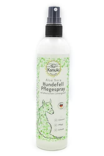 Kanuki Hundefell Pflegespray mit ätherischem Lemongrasöl 200ml – mit Aloe Vera für alle Felltypen...