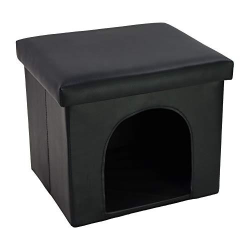 KKTONER Hundebox Katzenhaus Sitzhocker Faltbare Aufbewahrung aus Kunstleder Schwarz