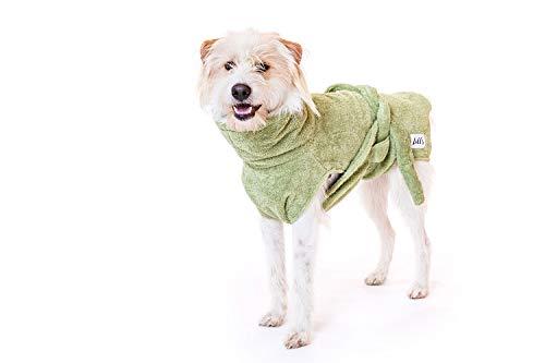 Lill's Hundebademantel, 100% Bio-Baumwolle, Organic Green Leaf (Grün) (XS)
