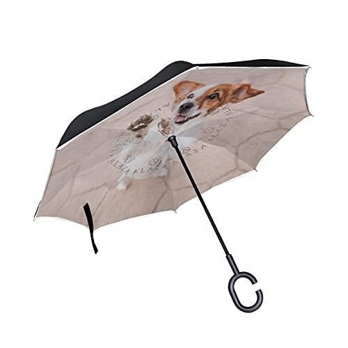 Taschenschirme Hund Mops Welpe Invertierter Regenschirm UV-Schutz Winddichter Umbrella Invertiert Schirm...