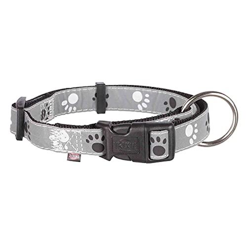 TRIXIE 12223 Silver Reflect Halsband, schwarz / grau, Medium