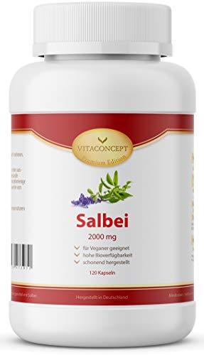 Salbei Kapseln I Hochdosiert I 2000 mg pro Kapsel I Der VERGLEICHSSIEGER* I 120 Stück I Salbei Extrakt...