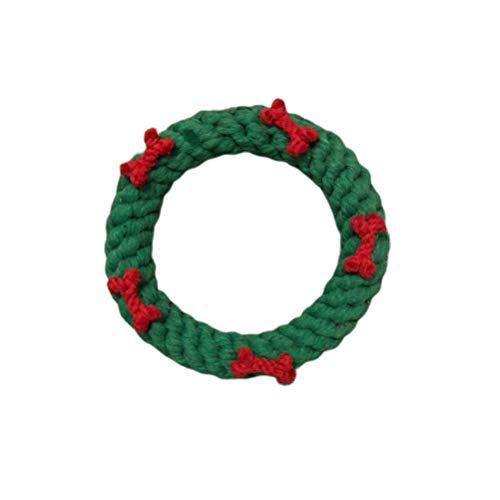 HIAQIMEI Weihnachten Hundeseil Spielzeug Kranzförmiges Hundekauspielzeug Weihnachtshundespielzeug...