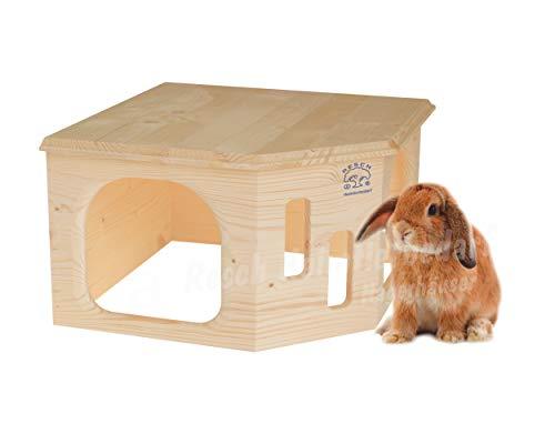 Resch Nr33 Kaninchenecke Groß naturbelassenes Massivholz aus Fichte/mit Zwei großen Eingängen und...