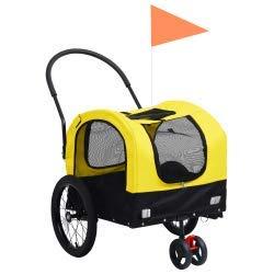 vidaXL Hunde Fahrradanhänger 2-in-1 Gelb Schwarz Anhänger Jogger Hundeanhänger