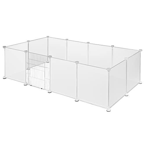 EUGAD Freigehege für Kaninchen Hasen Meerschweinchen Welpenauslauf mit Tür DIY 12 Platten Weiß 142 x...