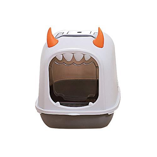 Tccic Katzentoilette mit Flip-Funktion, Entlüftungsdesign Und Katzenschaufel, Einfach Und Bequem, Grau,...