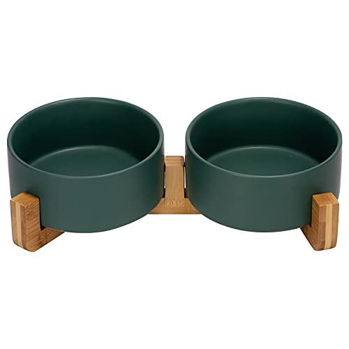 SPUNKYJUNKY Keramik Doppel Hund Futternapf mit Bambus Ständer für Katzen und Hunde (850ml, Grün)