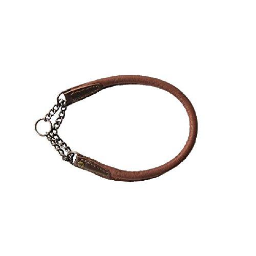 Akah Hunde Halsband aus Elchleder mit Durchzugskette und Begrenzer (40cm)