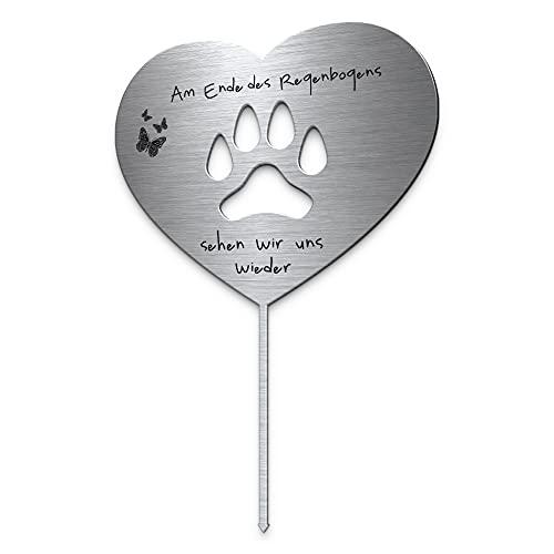 Grabstecker Herz mit Pfote aus Edelstahl mit Trauer Spruch oder Namen | Grabschmuck Hund o. Katze -...