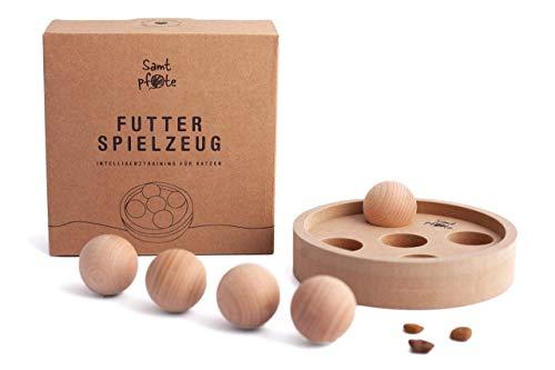 Samtpfote® Futterspielzeug aus Holz - Premium Qualität - interaktives Intelligenzspielzeug für Katzen...