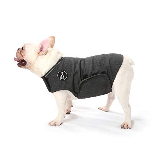 Mint Hundemantel zur Linderung von Angst,leichtes Wickelhelmd für Hunde mit Angstzustände (S, Grau)