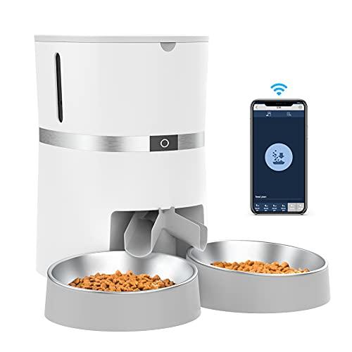 WellToBe Smart Futterautomat Katze und Hund, WiFi Automatischer Futterspender für 2 Katze, Pet Feeder...
