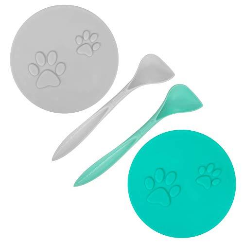 SLSON 2 STK Tierfutter-Dosendeckel mit 2 Löffeln und Netter Katzentatzenmuster für Dosenfutter für...