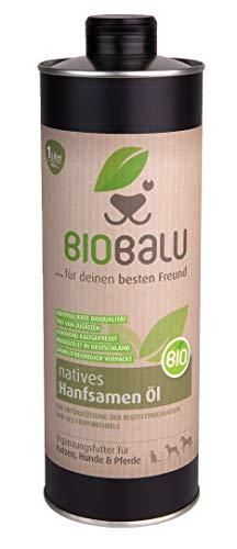 Biobalu Bio Hanföl | Kaltgepresstes Bio Hanföl als Ergänzungsfuttermittel für Hunde, Pferde und...