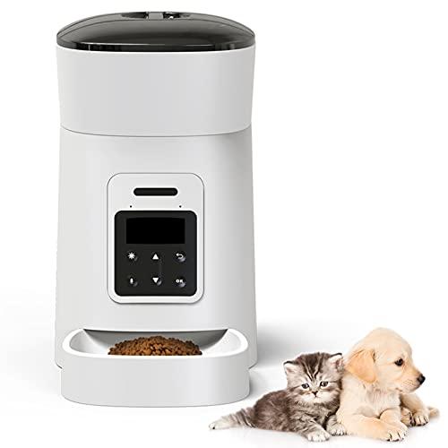 Automatischer Futterautomat Katze & Hund,Automatischer Futterspender mit LED-Anzeige für niedrigen...