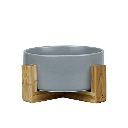 HCHLQLZ Grau Keramik Hundenapf Futternapf Fressnapf Napf für Hund Katzen mit Massivholz Ständer