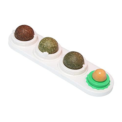 Katzenminze Spielzeug, 4 in 1 Katzenminze Ball für Katzen Set, Katzen Zuckerball Wandspielzeug mit...