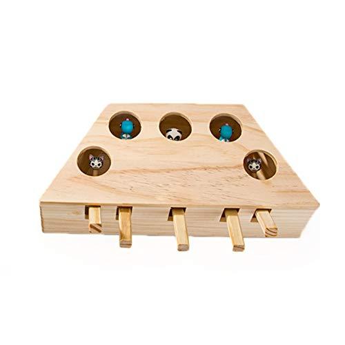 IsEasy Interaktives Katzenspielzeug, massives Holzspielzeug, Maulwurf-Maus, Intelligenzspielzeug für...
