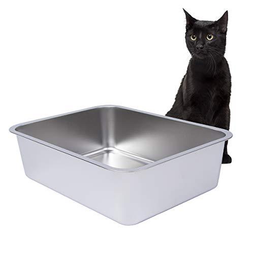 Dimaka Edelstahl Katzentoilette für Katze und Kitten, 15 cm Seitenhöhe, Antihaft-Metallpfanne, Glatte...