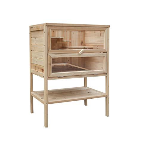 MYPETS - Sami XL Holz Käfig für Nager mit Regal 60 x 40 x 80cm - Nagerkäfig für Hamster, Chinchilla,...
