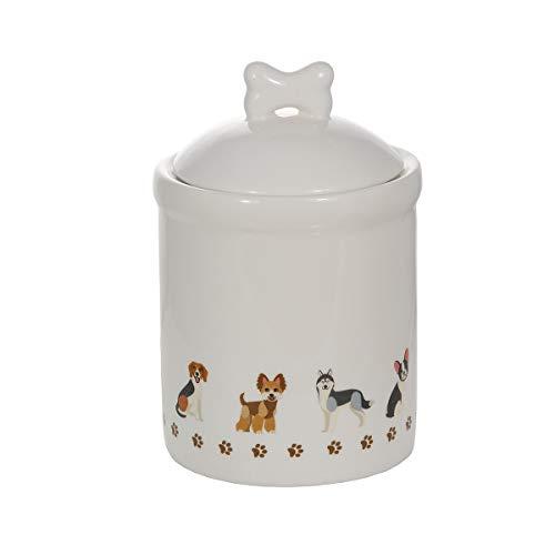 Keramik Vorratsdose mit Deckel, Küchen Aufbewahrungsdose, Küche Aufbewahrung weiß mit Hund-motiv...