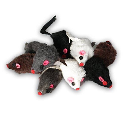 EBI Echtfell-Spielzeugmaus, ideale Beschäftigung für Katzen, Fellmäuse im Set, je 5 cm (9 St. mit...