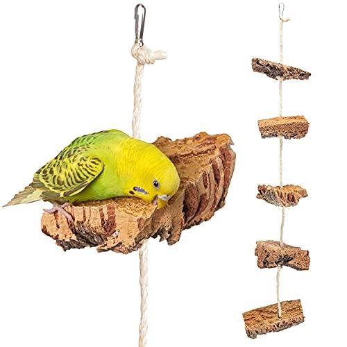 Kork Knabberseil - das perfekte Wellensittich Spielzeug und Vogelzubehör zum Klettern und Nagen  ...
