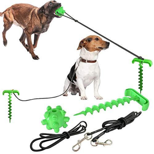 Aswinfon Anlegepflock für Hunde mit Tie-Out Leinen Bodenanker für Draussen und Garten mit Kauspielzeug...