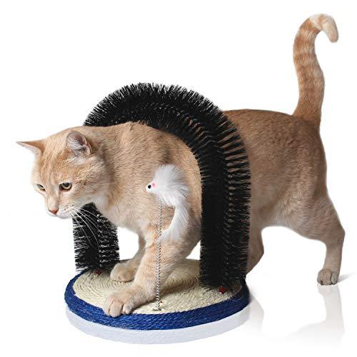 Bella & Balu Katzenbogen inkl.Katzenspielzeug – Massagebogen für Katzen mit Kratzbürste und...