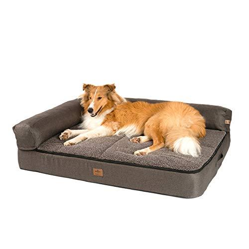 JAMAXX Premium 4-in-1 Hunde-Sofa EXTRA BREIT 120x90x14 Orthopädische Couch mit Memory Visco Schaumstoff,...