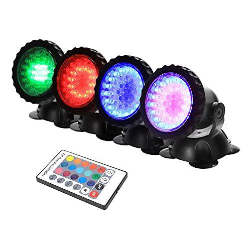 GreenSun Unterwasser Spot Licht, RGB Fernbedienung Spot Lampe IP68 Wasserdicht für Aquarium Gartenteich...