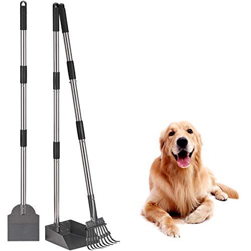 3 Stück Verbesserte Hundekotschaufel, Tablett, Harke und Spaten, Verstellbarer Langer Griff, Metall mit...