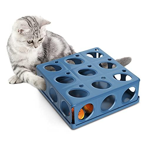 Huskl Interaktives Katzenspielzeug Intelligenz Box Fummelbrett mit 21 Löchern Intelligenzspielzeug...
