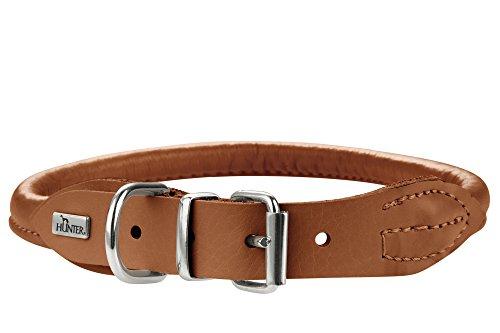 HUNTER ROUND & SOFT ELK Hundehalsband, Leder, weich, rund, fellschonend, 45 (S-M), cognac
