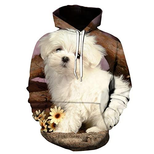 QTJY Tierischer süßer Hund 3D Gedruckter Hoodie für Männer und Frauen, Harajuku Streetwear Fashion...