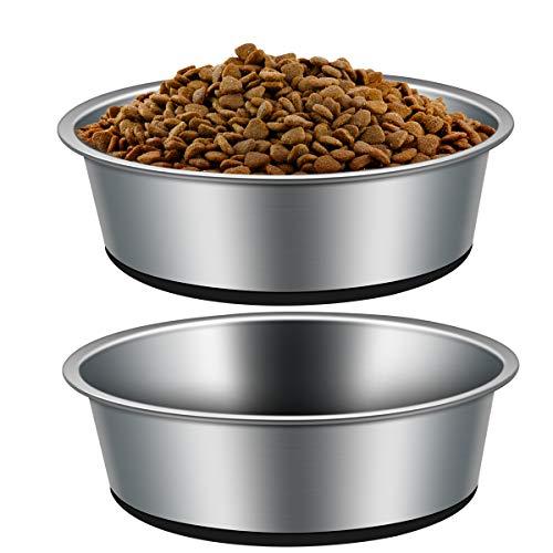 Edelstahl Hundenapf mit Rutschfester Gummibasis,VIKEDI 2 Stück rutschfest Hundenäpfe, Edelstahlnapf...