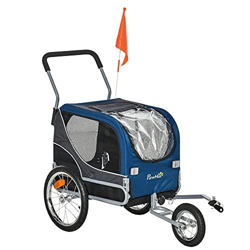 Pawhut 2-in-1 Hundeanhänger Haustier Fahrradanhänger Hundetransporter Hunde Fahrrad Anhänger...